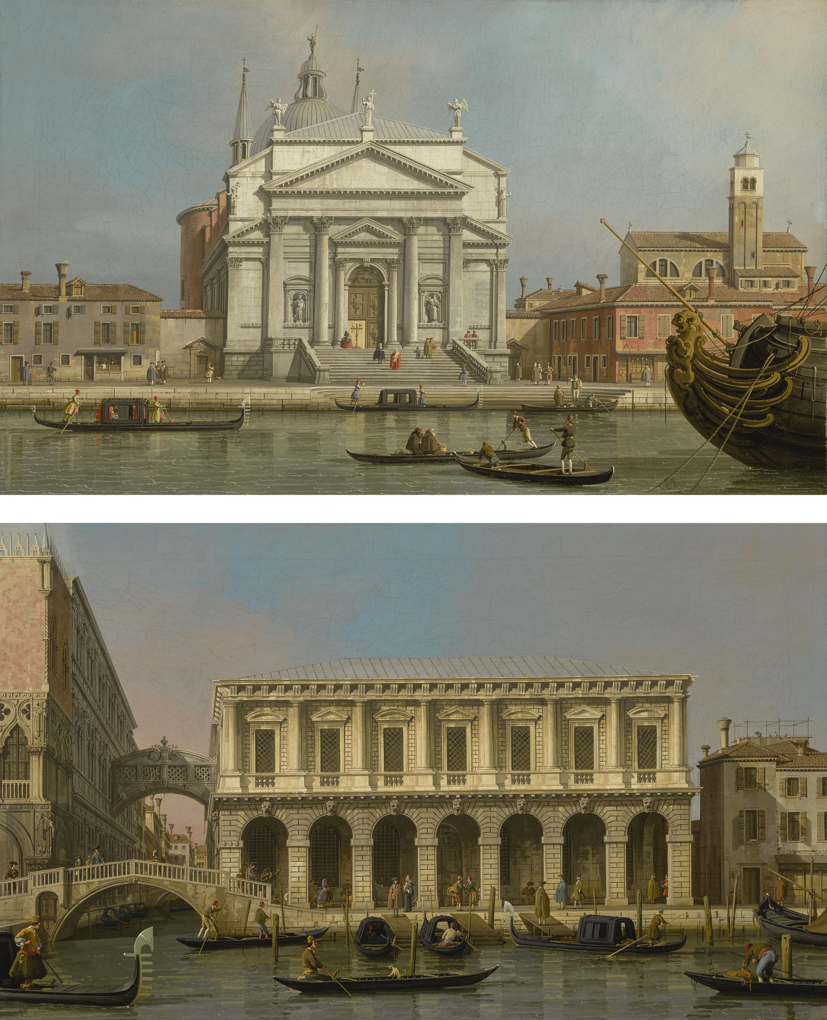Old Master Giovanni Antonio Canal, called Canaletto VENICE, THE CHURCHES OF THE REDENTORE AND SAN GIACOMO; VENICE, THE PRISONS AND THE BRIDGE OF SIGHS, LOOKING NORTHWEST FROM THE BALCONY Estimate 3,000,000 — 4,000,000 USD LOT SOLD. 4,179,500 USD