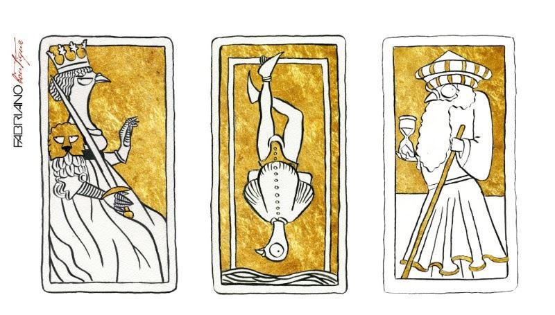 Tarocchi con immagini di piccioni disegnate da Gianluca Biscalchin per la mostra itinerante FABRIANOospita