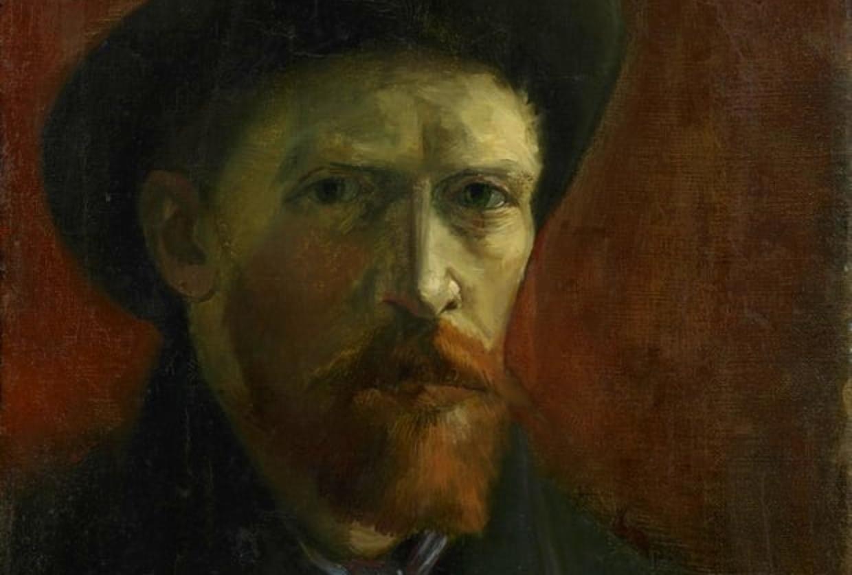 Vincent van Gogh, Autoritratto col cappello di feltro, particolare