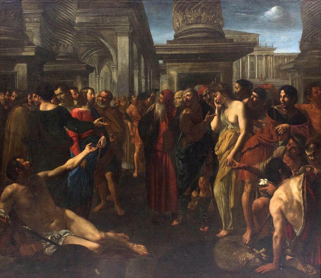 Angelo Caroselli, Cristo e l'adultera Olio su tela, 124x145 cm Aggiudicazione € 321.875