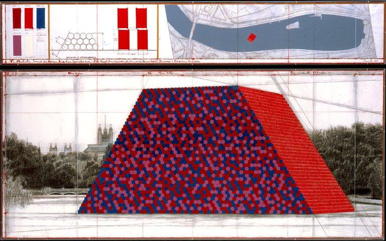 """Un disegno del progetto di Christo """"The Mastaba"""" pensato per Londra"""