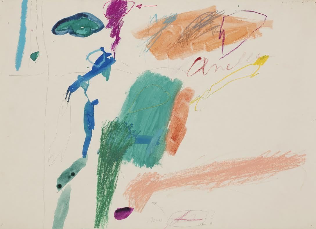 Giosetta Fioroni, Senza Titolo, tecnica mista su carta, cm 38 x 52,5, 1960 - provenienza galleria Il Segno, Roma. Opera ritrovata ed esposta per la prima volta dal 1961