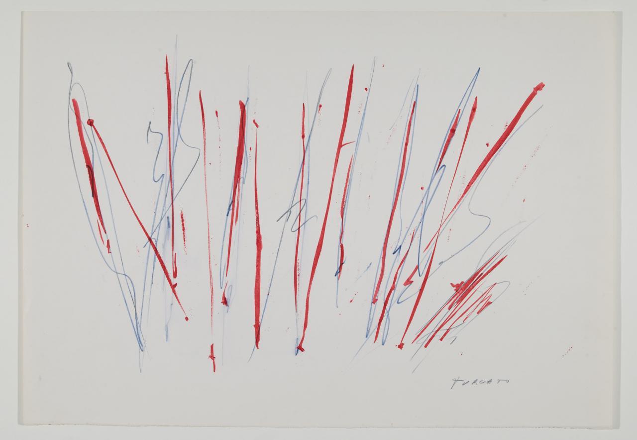 Giulio Turcato, Composizione, 1960 circa, inchiostri colorati su carta, 35,5x50 cm, Museo del Novecento – Collezione Boschi Di Stefano, Milano