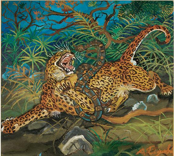 Antonio Ligabue Leopardo con serpente s.d. 1953-1955 Reggio Emilia collezione-privata