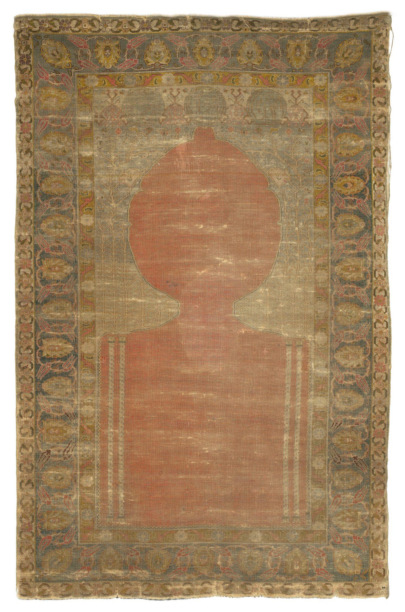 Tappeto Smirne, Preghiera, Anatolia, secolo XVII Valutazione € 5.300,00 – 5.600,00