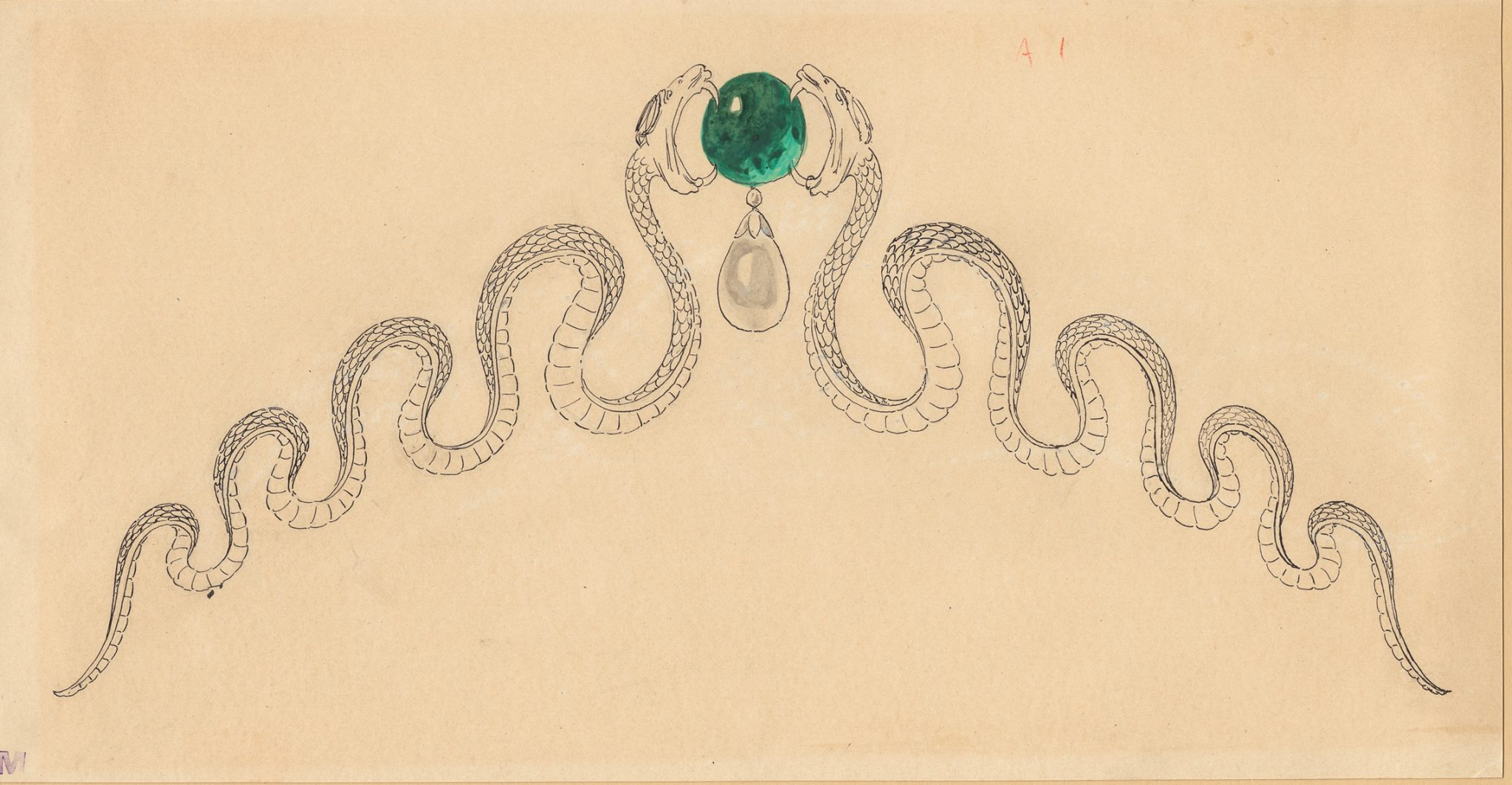 Joseph Chaumet (1852-1926), drawing workshop Preparatory drawing for a tiara with facing snakes surrounding an emerald, Ca. 1890-1900 15.5 x 29 cm Pen and black ink, traces of graphite pencil, gouache wash on cream tinted card © Chaumet Collection