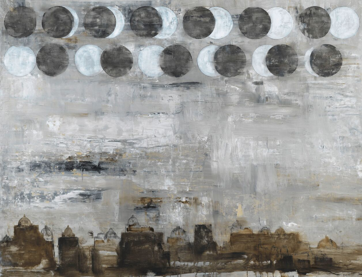 Luna o luna nuova,2018, mixed media on canvas, cm155x206.Courtesy of Partners & Mucciaccia © Pizzi Cannella Archive_preview