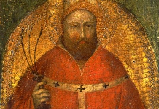Particolare del Sant'Ambrogio di Giusto de' Menabuoi rubato dalla Pinacoteca Nazionale di Bologna