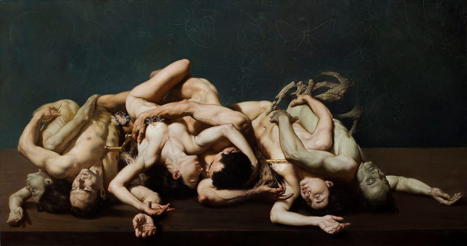 L'AMORE, LA MORTE E IL SOGNO, (2017) – olio su tela, 110x200 cm