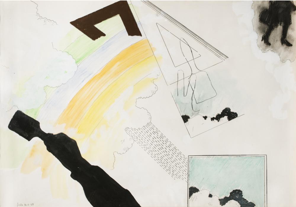 Tano Festa, Senza titolo, 14-1-65, mixed media on cardboard 70x100 cm