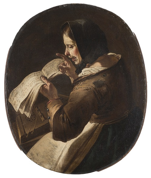 "Giacomo Francesco Cipper (Feldkirch 1664-Milano 1736), ""Vecchia che canta"", olio su tela"