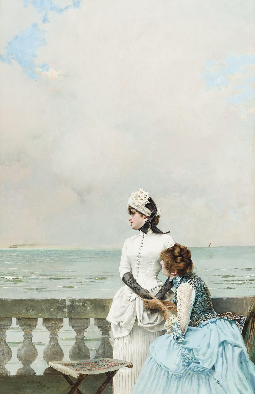 """VITTORIO MATTEO CORCOS (Livorno 1859- Firenze 1933)Dis-moi tout! Olio su tela, 93 x 61 cm Firmato e datato in basso a sinistra: """"V. Corcos 83"""""""