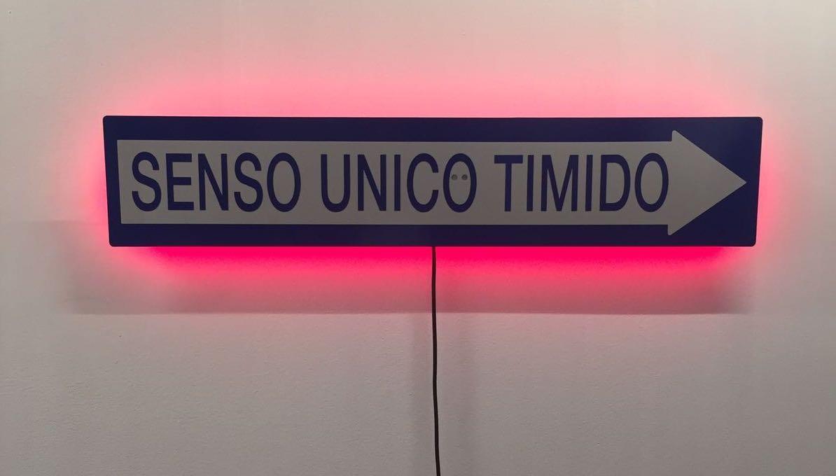 Francesco Garbelli - Senso unico timido - lamiera traforata taglio laser, pellicola adesiva, luci Led a sensore - 2017/18