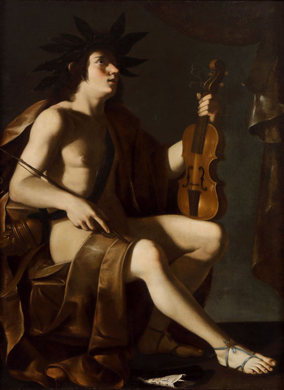 Tommaso Salini (Roma c. 1575 – 1625), attr. (o Maestro di Baranello?) Apollo o Allegoria della Musica, olio su tela, 130×98,5 cm