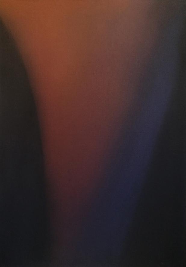 Claudio Olivieri - Blu diagonale 1972, tecnica mista su tela, cm 70x50.