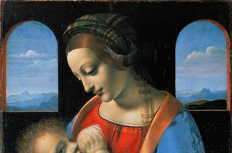 Particolare della Madonna Litta, divisa nell'attribuzione fra Leonardo e Boltraffio
