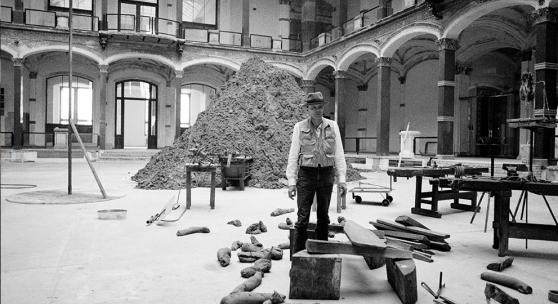 "Joseph Beuys in the exhibition ""Zietgeist,"" Martin Gropius Bau, 1982. Photograph copyright Jochen Littkemann, courtesy Galerie Thaddaeus Ropac."