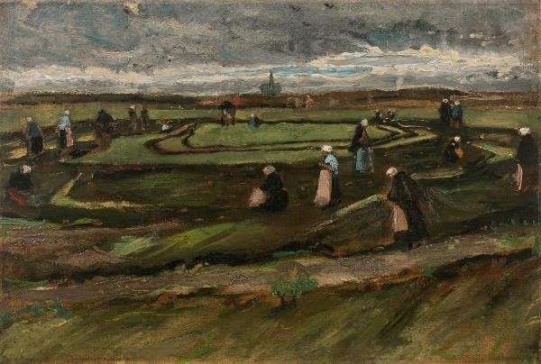Vincent Van Gogh, Raccommodeuses de filets dans les dunes, August 1882, Oil on marouflé paper on panel, 42 x 62,50 cm, estimate: 3 000 000 – 5 000 000 € / 3 600 000 – 6 000 000