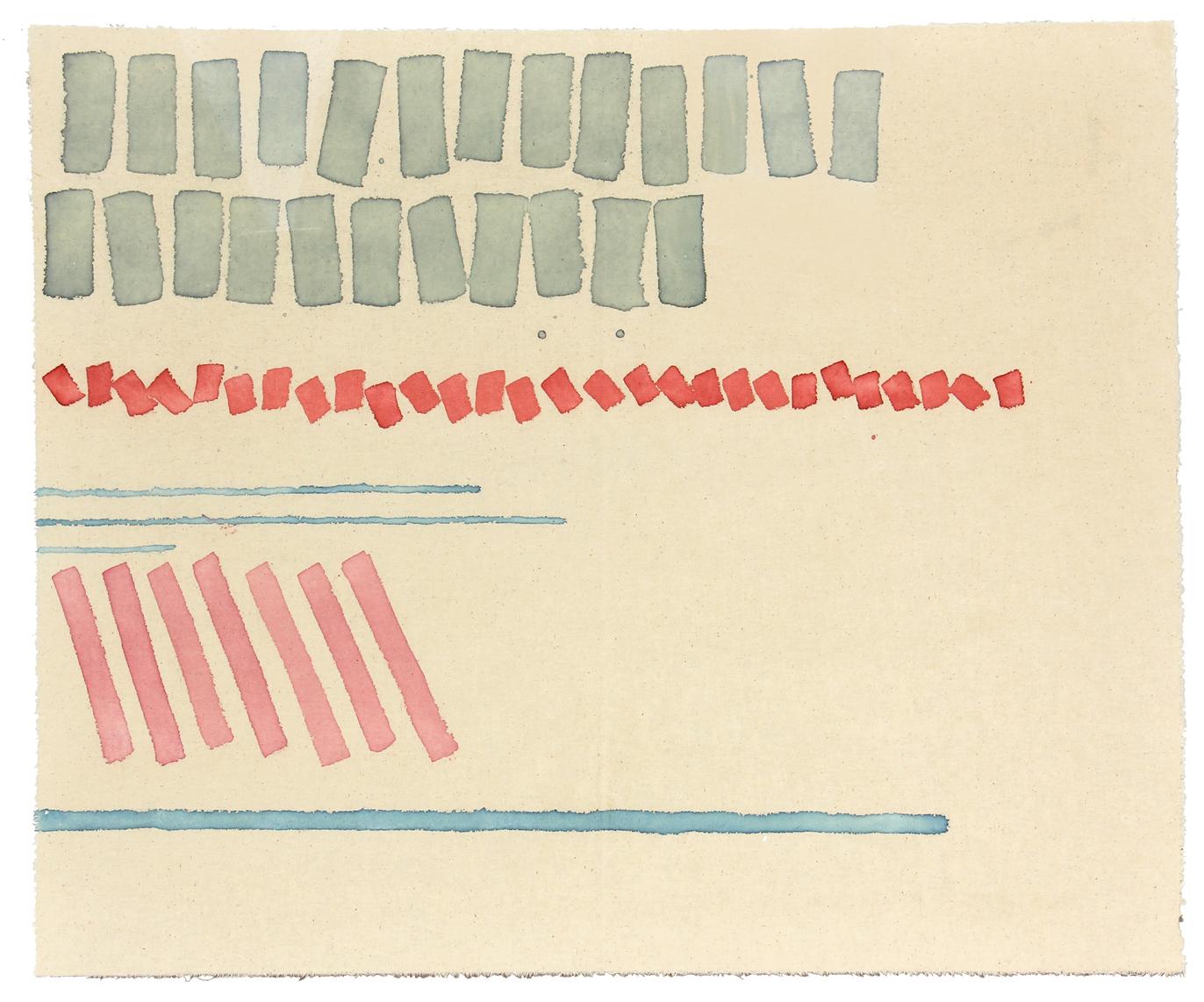 """Giorgio Griffa """"Cinque segni"""", 1979, acrilico su tela, cm. 60x73 – riserva € 13.000"""
