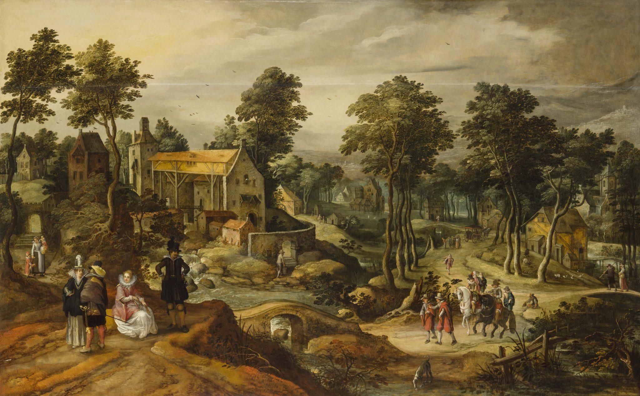 607 PITTORE ATTIVO AD ANVERSA NEL XVII SECOLO Villaggio rurale con figure, cavallo, alberi e ruscello Olio su tavola, cm 113X180 Stima € 20.000 - 30.000