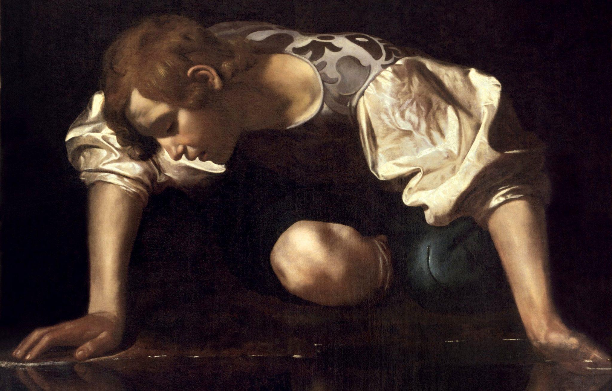 Caravaggio, un particolare del Narciso