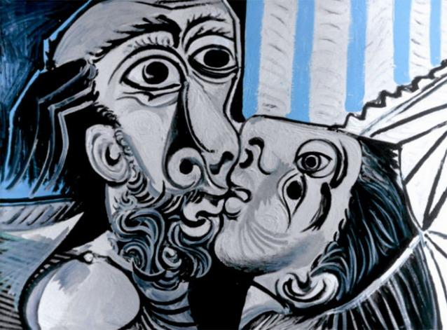 Pablo Picasso, Il bacio (26 ottobre 1969). olio su tela; 97x130. Paris, Musée National Picasso