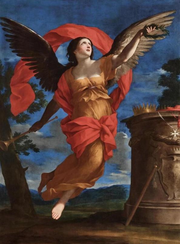 Giovanni Francesco Romanelli (Viterbo 1610–1662) Allegory of Fame, oil on canvas, 191.5 x 137 cm, framed Prezzo realizzato** EUR 222.600 ,- USD 266.500 ,- Stima EUR 200.000 ,- a 300.000 ,-