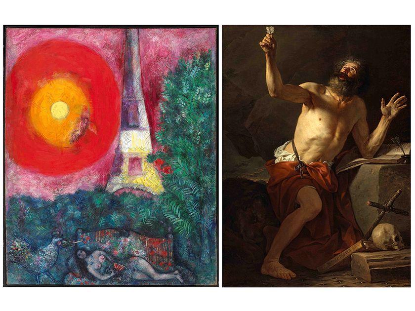 La Tour Eiffel, Marc Chagall e San Girolamo ascolta la Tromba del Giudizio Universale, Jacques Louis David