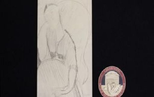 """Il falso disegno firmato Modigliani cm 41,5 x 35 raffigurante """"Donna Seduta Fonte foto Askanews"""