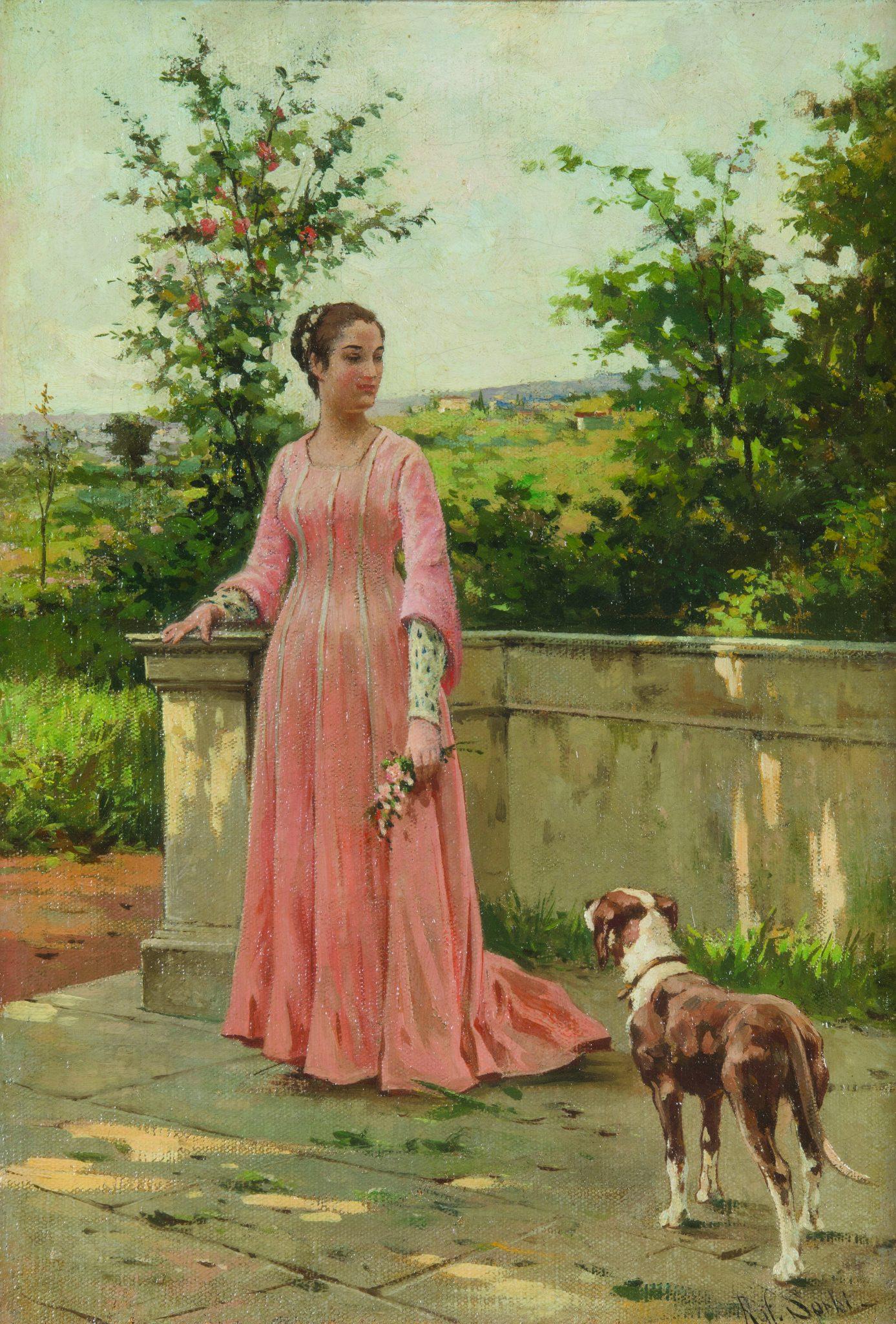 Lotto 231 Raffaello Sorbi (1844-1931) Giovane fanciulla con cane olio su tela, cm 36x25, firmato in basso a destra Stima € 8.000 - 10.000