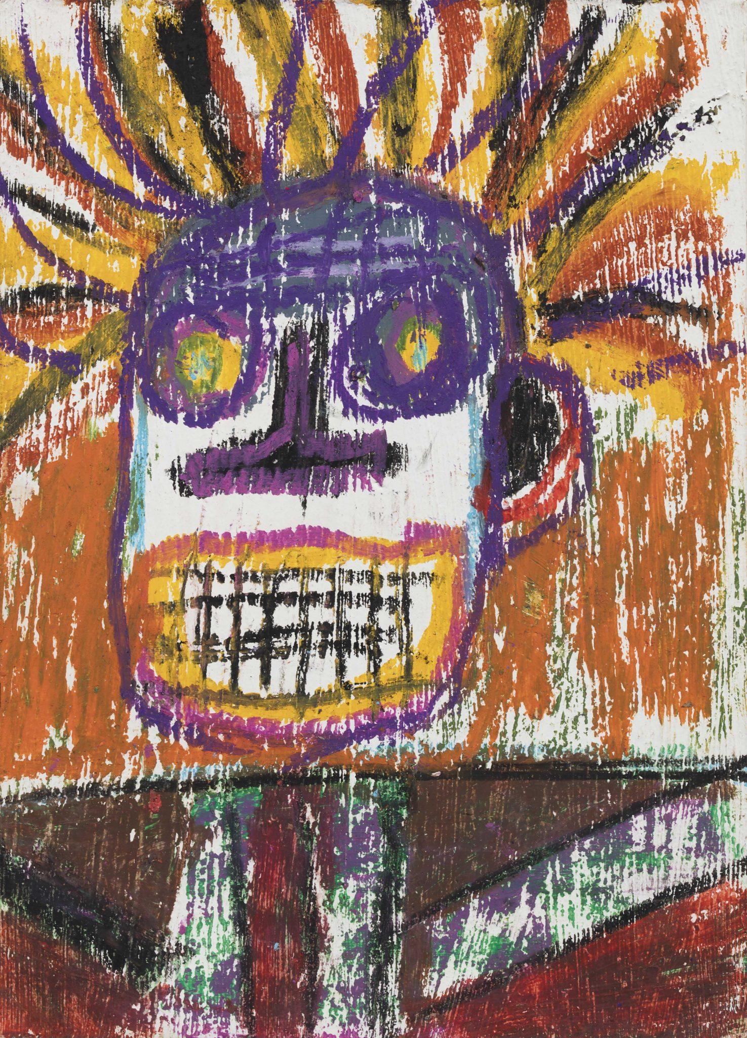 JEAN-MICHEL BASQUIAT (New York, USA 1960 - New York, USA 1988) Senza titolo acrilico, olio e pigmenti organici su cartolina, cm 17,78x12,7 sul retro firmato e datato J.M.B 81 eseguito nel 1981 stima 20.000/40.000 euro
