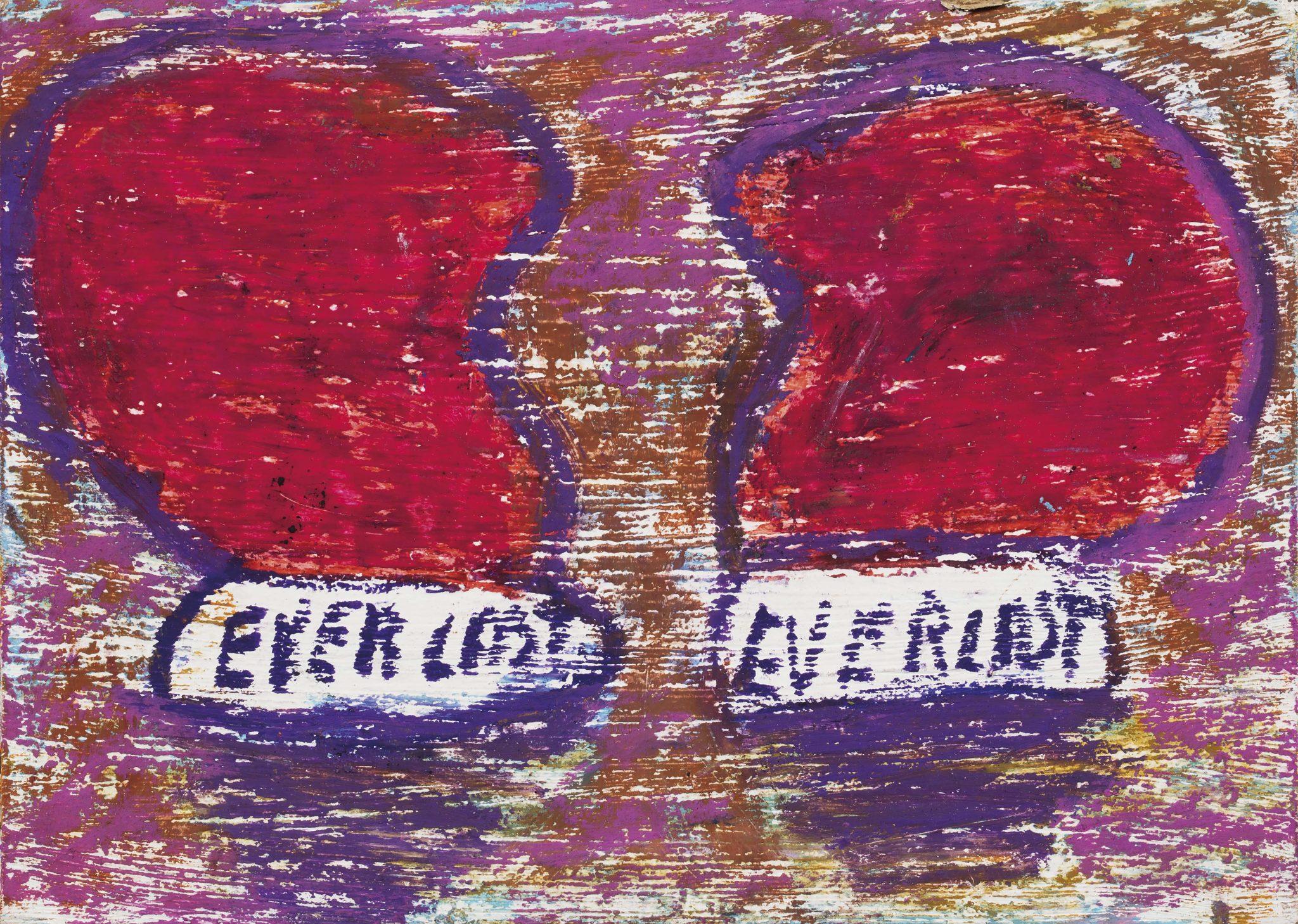 pandolfini JEAN-MICHEL BASQUIAT (New York, USA 1960 - New York, USA 1988) Senza titolo (Everlast) acrilico, olio e pigmenti organici su cartolina, cm 17,78x12,7 eseguito nel 1982 L'opera è accompagnata da autentica rilasciata nel 2000, dal Authentication Committee of the Estate of Jean-Michel Basquiat L'opera è registrata presso l'Authentication Committee of the Estate of Jean-Michel Basquiat, con il numero n. 10874 Provenienza Collezione privata, Usa Collezione privata, Arezzo Prima ancora di iniziare a dipingere insieme alla metà degli anni ottanta, Andy Warhol e Jean-Michel Basquiat condividevano un analogo interesse per determinati soggetti e temi. Erano entrambi affascinati dalla combinazione di testi e scritti o stampati e immagini, ed entrambi attinsero soggetti della cultura popolare. Nelle sue opere fondamentali dei primi anni sessanta Warhol, aveva usato ripetutamente titoli di giornali, pubblicità, marchi di fabbrica e prezzi di prodotti, personaggi dei fumetti e celebrità come soggetti dei suoi dipinti e dei suoi disegni. L'opera di Basquiat, realizzata vent'anni dopo, s'imperniava su elementi simili, ma accostati da una prospettiva diversa. Fu un evento fortuito e profetico quando i due artisti vennero inviati a lavorare insieme. Nel 1984 Bruno Bischofberger chiese a Warhol, a Basquait e a Francesco Clemente di creare dei dipinti in collaborazione. Warhol apprezzava la compagnia e la creatività di Basquiat, e viceversa, e fra i due si instaurò una forte amicizia, non solo su basi professonali ma anche personali. Da questo momento continuarono a collaborare, per molti anni realizzando tele importanti, e come testimonia questo lavoro di Basquiat, legato alla boxe e precursore della mostra che realizzarono insieme presso la Galleria Tony Shafrazi, negli anni a seguire. Fu Basquait a chiedere al fotografo Halsband se avesse fotografato un poster in stile boxing tradizionale che lui e Warhol desideravano per un nuovo spettacolo. Il risultato, letteralmente, 