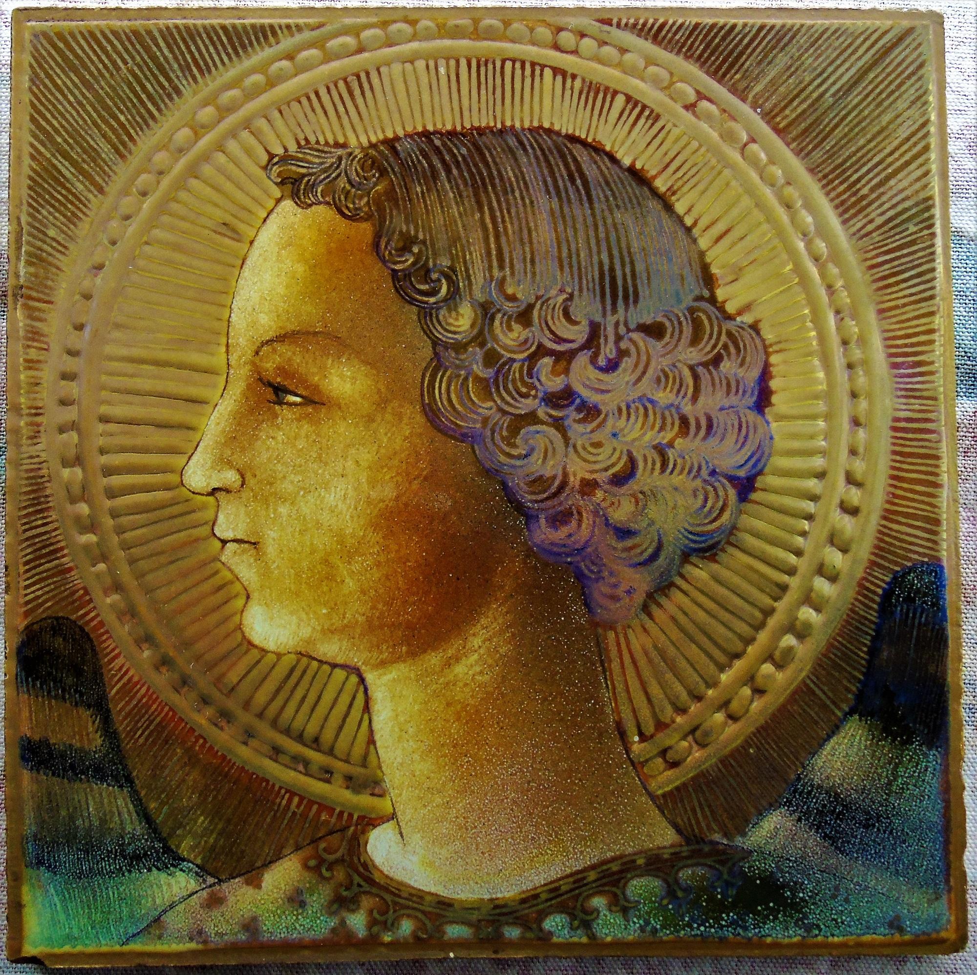 Foto prima opera di Leonardo da Vinci raffigurante l'Arcangelo Gabriele dipinto su una quadrella