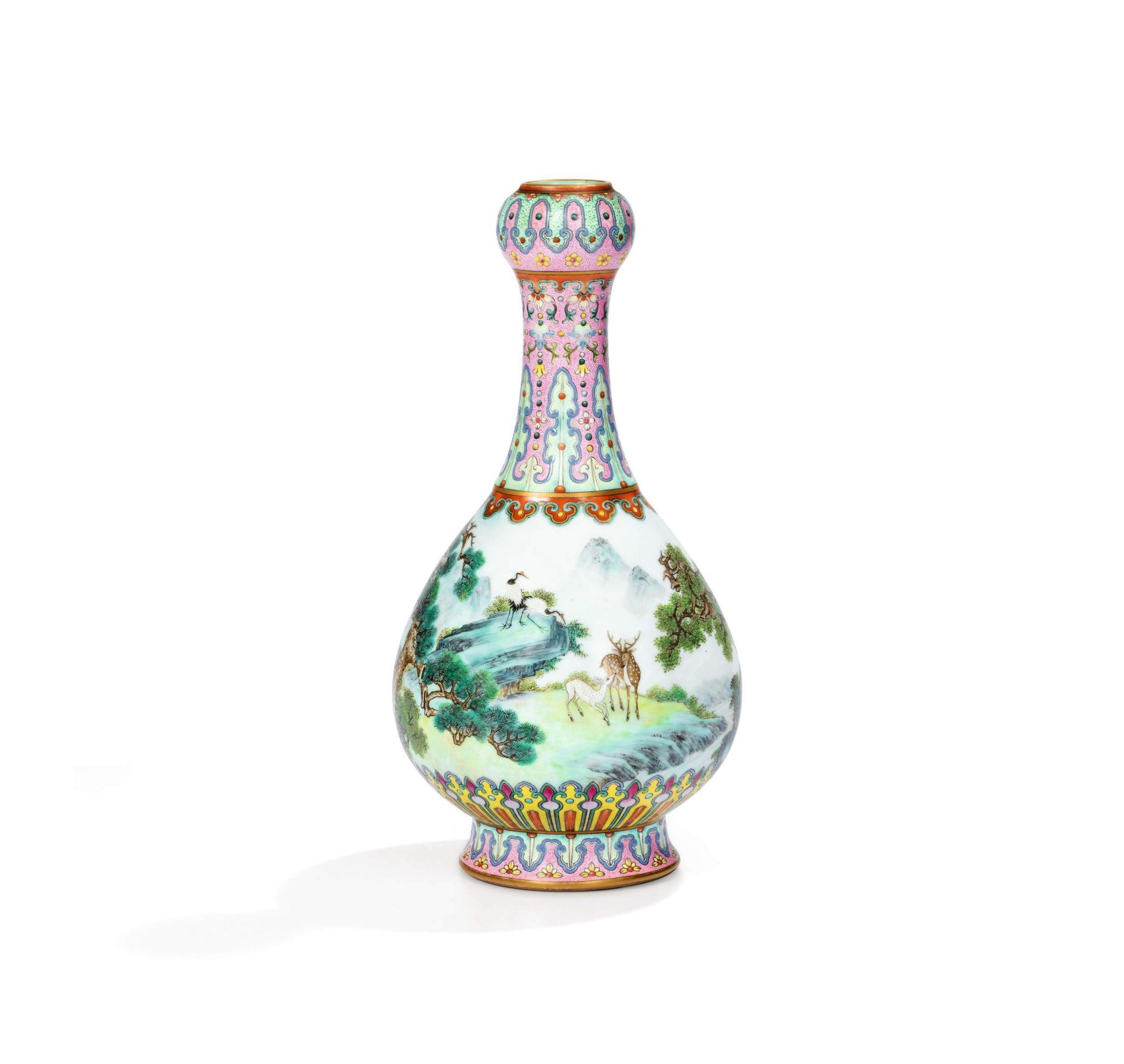 A unique Imperial 18th century 'Yangcai' Famille-Rose porcelain vase, bearing a mark from the reign of the Qianlong Emperor (r. 1736-1795). £430,000 – 610,000 (€500,000 – 700,000 / US$ 600,000 – 850,000 / HK$4.8-6.7 million).