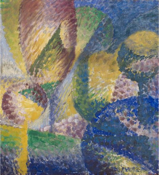 """Lotto 31. Enrico Prampolini – (Modena 1894 – Roma 1956), """"Sensazione cromatica di giardino"""" 1914, tecnica mista su cartone, cm 59,5×54. Firmato in basso a destra. Firmato e titolato al retro."""