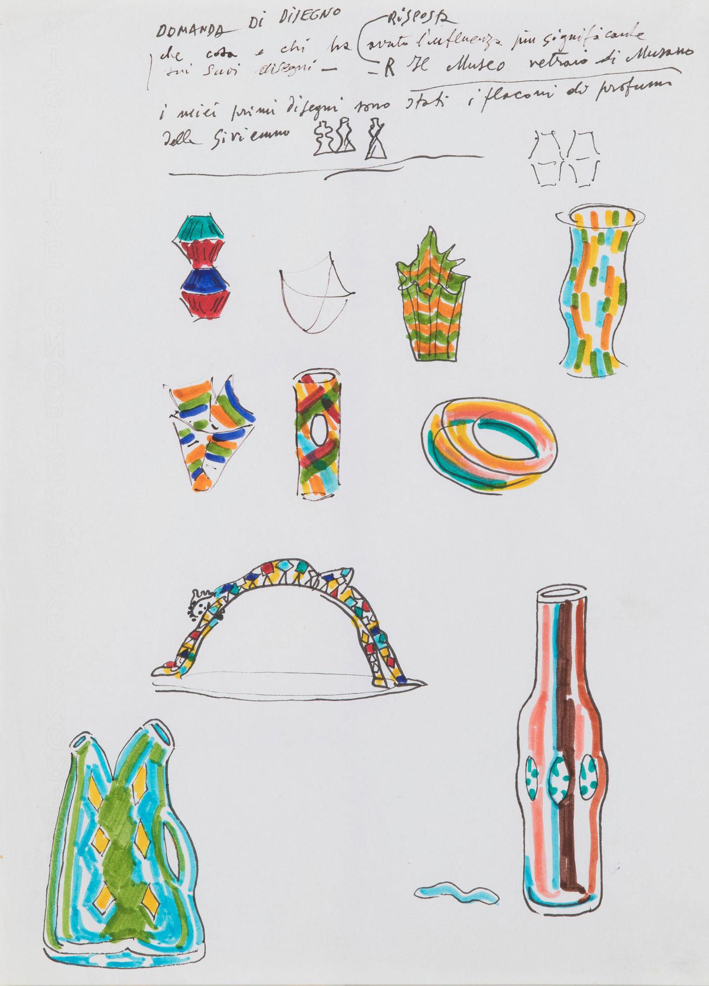 Lotto 42 (179576) Fulvio Bianconi (1915-1996) Lotto composto da 24 disegni a tecnica mista di progetti di vasi in vetro. Alcuni con scritte autografe. Misure diverse Stima € 1.200 - 1.500 Venduto a 8.750 €