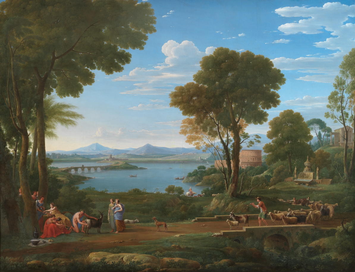 HENDRIK FRANS VAN LINT, called LO STUDIO (Antwerp 1684 – 1763 Rome) An Italianate landscape with the nurture of Jupiter and a goatherd leading his flock, a capriccio of the Colosseum in the background Signed and dated «H. VAN LINT D.TO STUDIO FE. ROMA 1737» The Mill, or Isaac's bride A pair, oil on canvas, 154 x 198 cm.