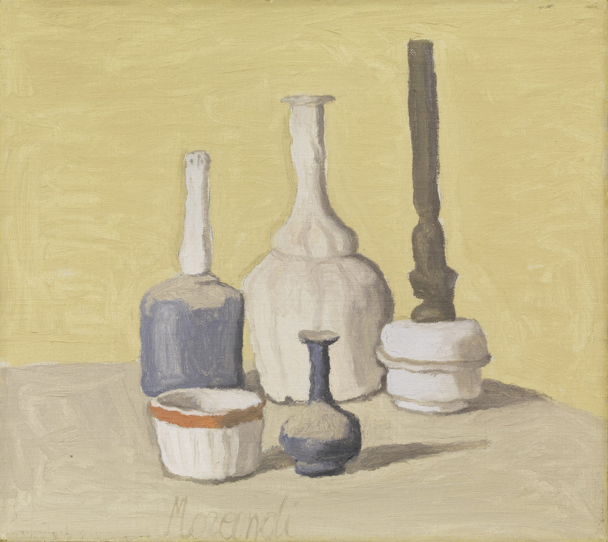 Giorgio Morandi Bologna 1890 - 1964 NATURA MORTA, (1941) STIMA € 700.000 / 900.000 Olio su tela, cm. 40,3x45,5 Firma in basso al centro: Morandi.