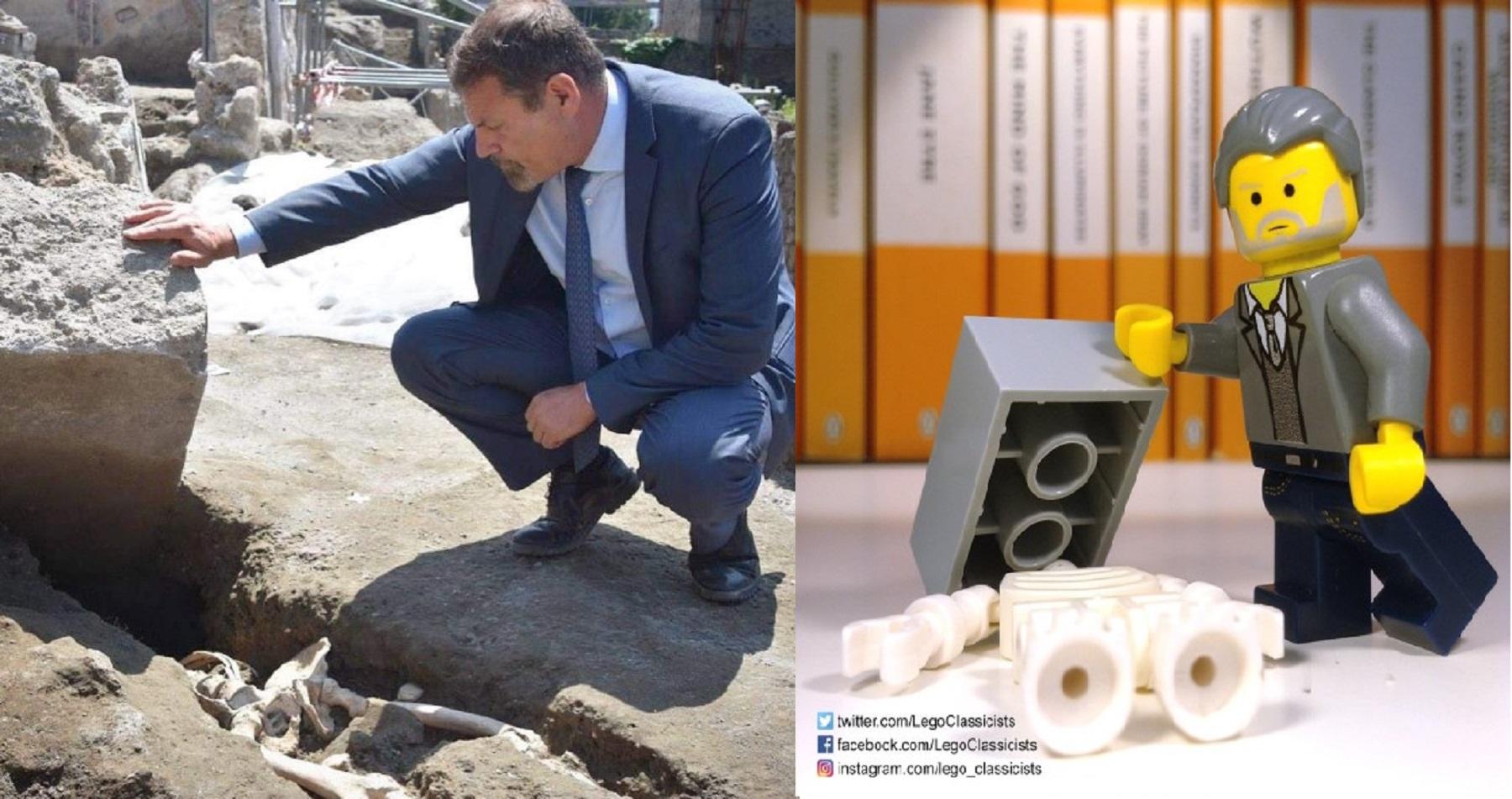 Il Direttore Generale Massimo Osanna (foto Parco Archeologico Pompei) e l'immagine su twitter della Lego Classics (foto twitter Lego Classics)