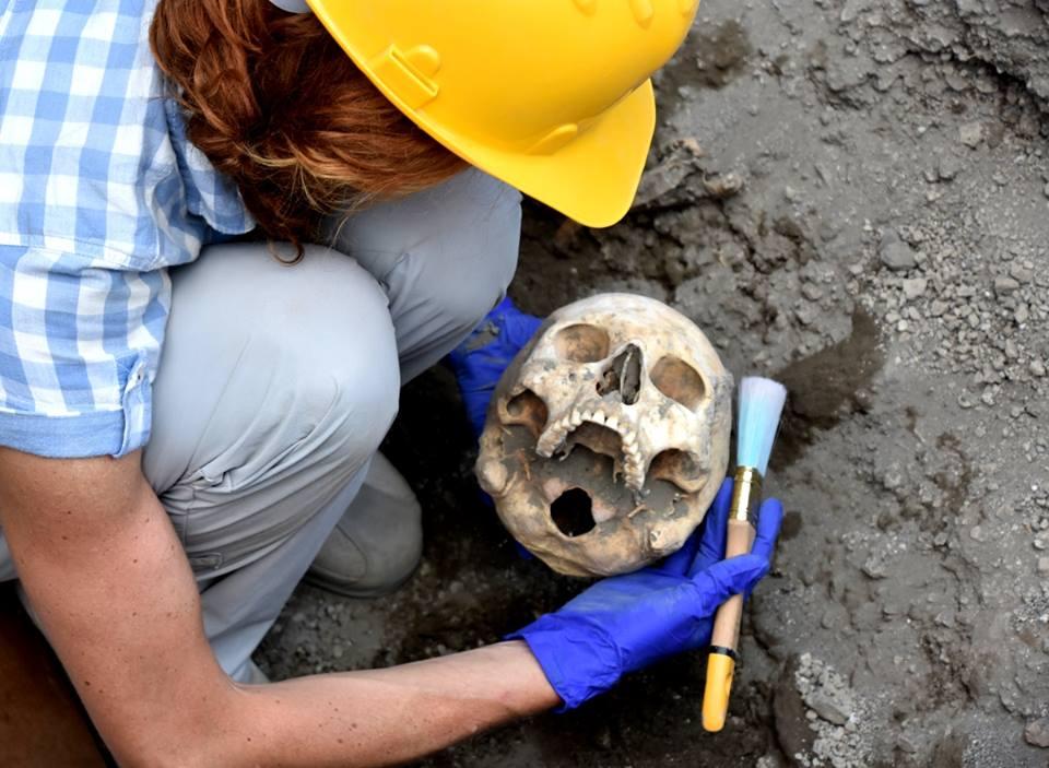 Teschio ritrovato a Pompei