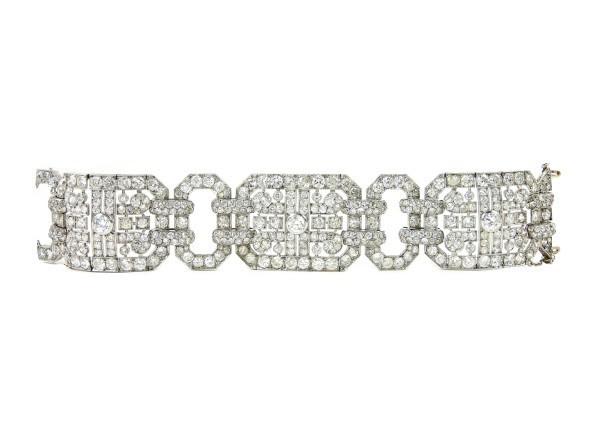 Lotto 496 Importante bracciale Art Deco H. Lyon – Paris in oro bianco e diamanti Francia, anni Venti/Trenta
