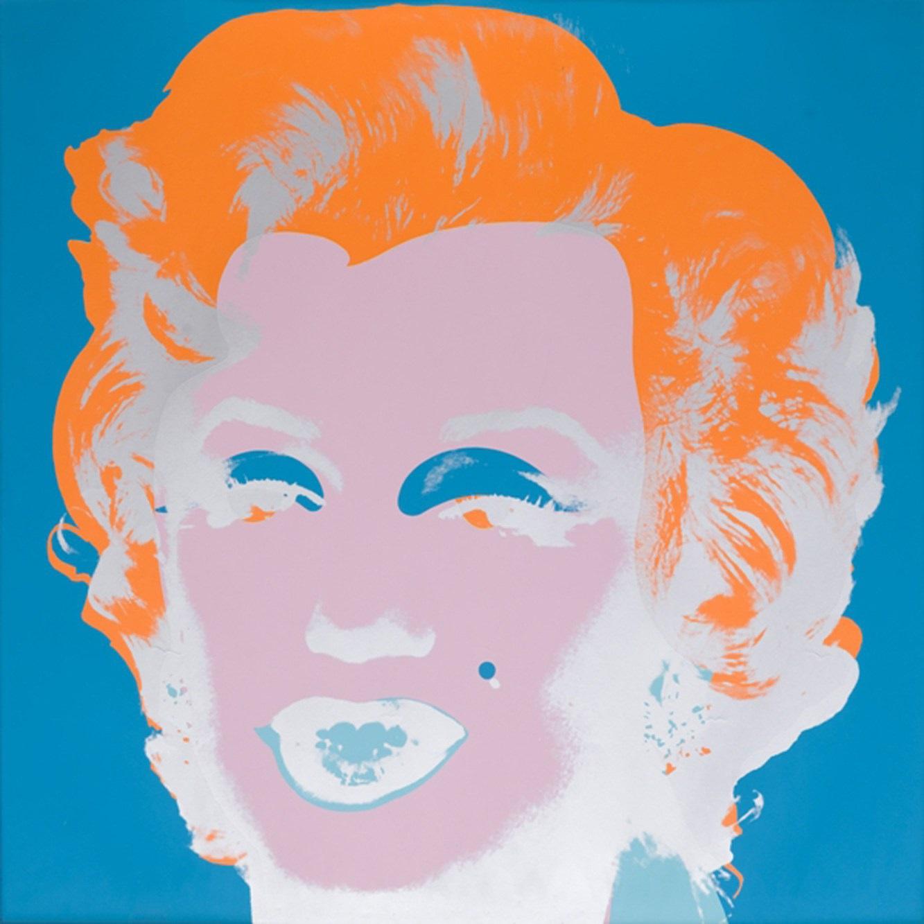 Cover della mostra su Warhol con il celebre ritratto dedicato a Marylin Monroe