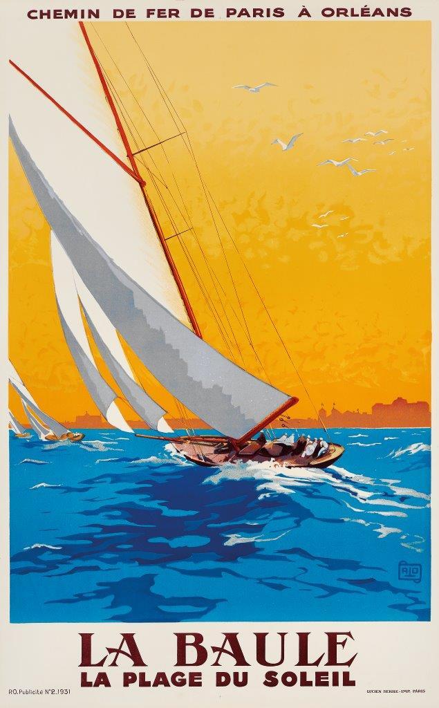 ALO (CHARLES-JEAN HALLO) 1882-1969 La Baule. La plage du soleil Litografia, 1931. Lucien Serre Imp., Paris. Qualità: B+. Telato. 99,5 x 62,5 cm