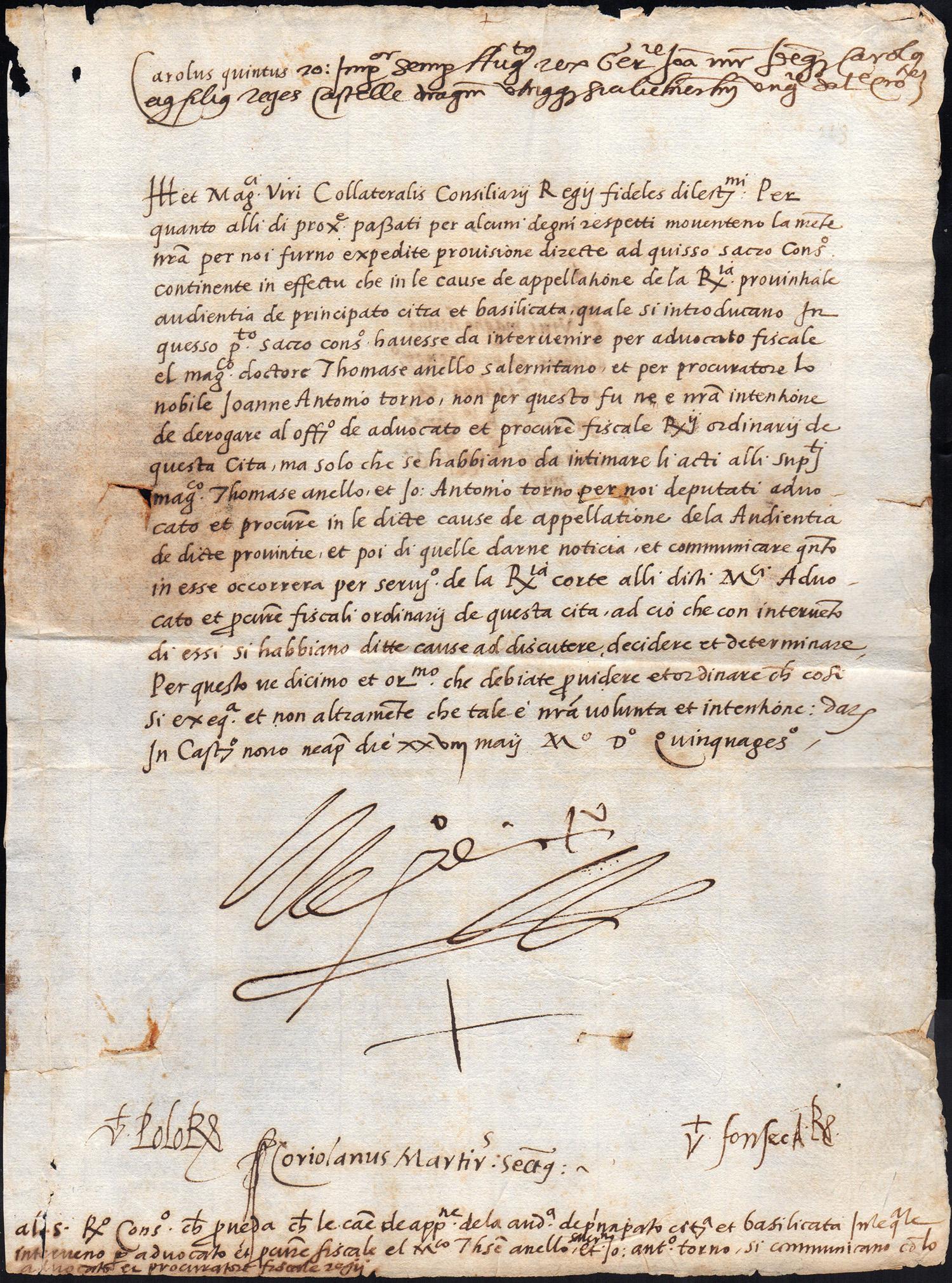 1550 - CARLO D'ASBURGO - Lettera a firma di Carlo V d'Asburgo, jo el Rey, Imperatore del Sacro Romano Impero, Re di Napoli, Re di Spagna, Re di Sardegna e Re di Sicilia.