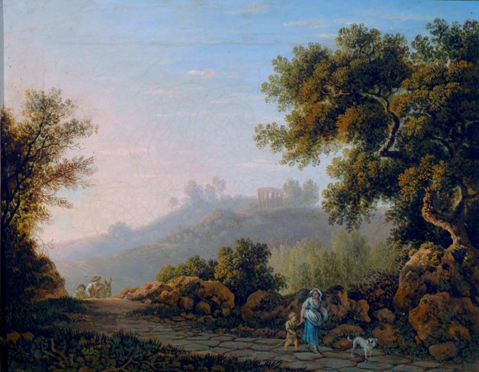 Carlo Labruzzi - Paesaggio con strada e viandanti, sec. XVIII