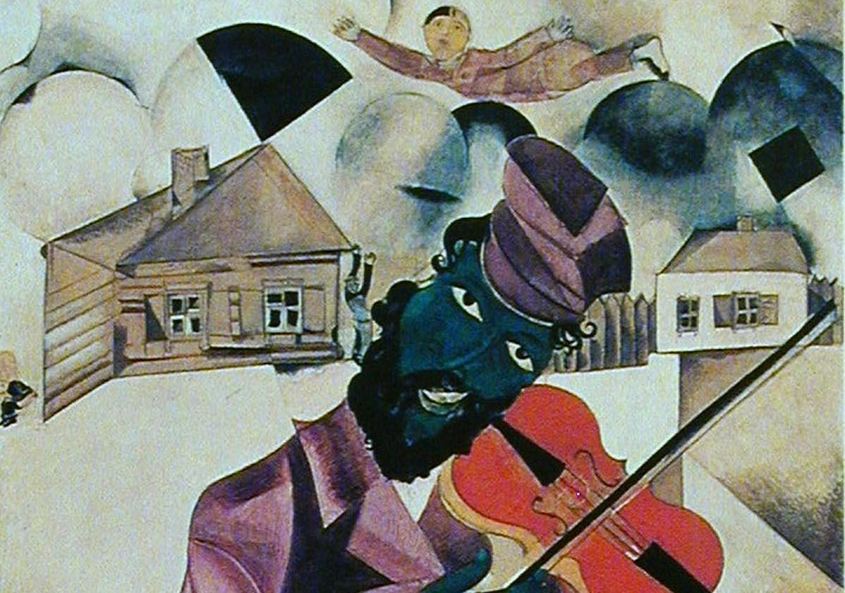 Marc Chagall, Il violinista, particolare, 1920, Tretyakov Gallery