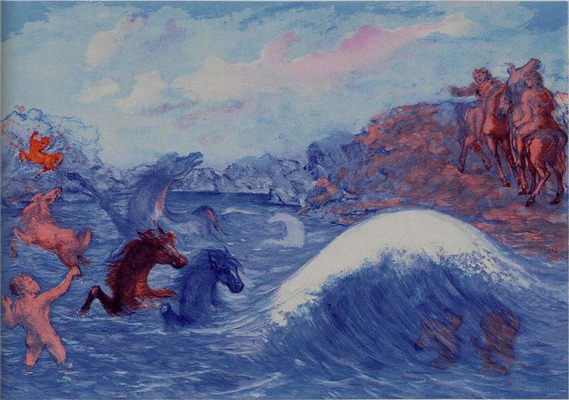 """Aligi Sassu I cavalli di Poseidone Dalla suite """"Aligi Sassu: il mito del Mediterraneo"""" 1989/90 acquaforte, acquatinta e puntasecca a 6 colori, cm 65×87"""