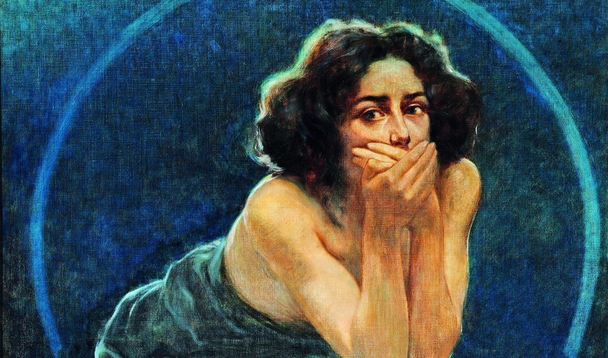 Giorgio Kienerk, Il Silenzio (pannello centrale del trittico L'enigma umano), 1900, Pavia, Musei Civici Quadreria dell'Ottocento