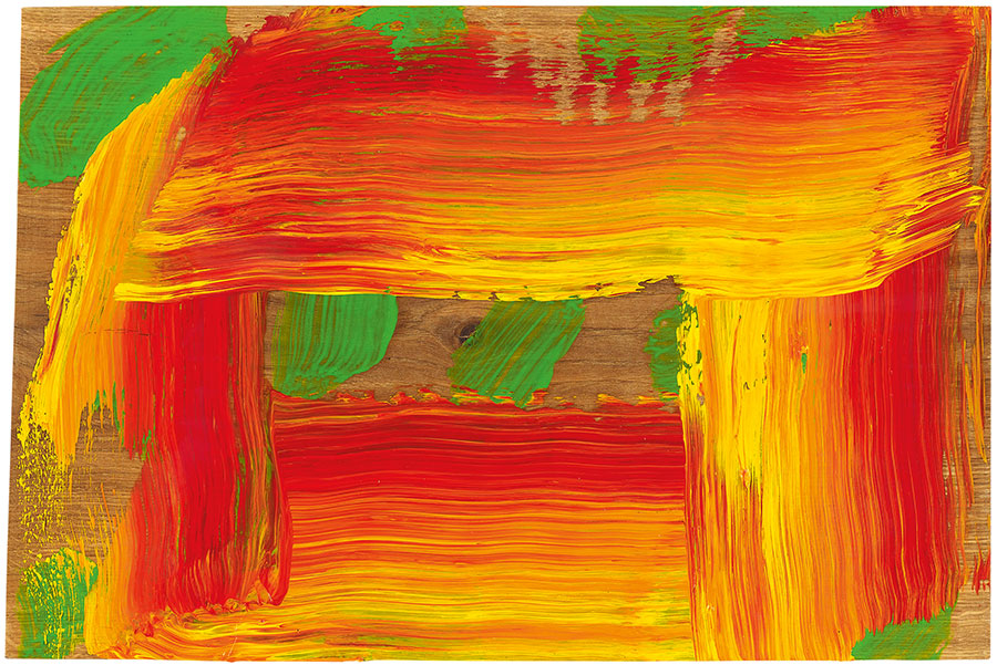 Howard Hodgkin, Through a Glass Darkly, 2015–16, oil on wood, 10 3/4 × 16 1/4 inches (27.3 × 41.3 cm) © Howard Hodgkin Estate. Photo: Prudence Cuming Associates