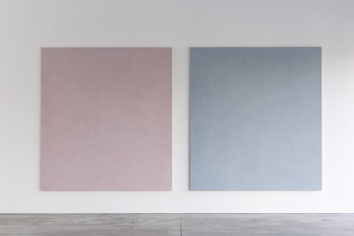 Parole di colore, rosa, 2011; Parole di colore, grigio verso l'azzurro, 2011, Colour impasto on panel, cm 240x220x4 each